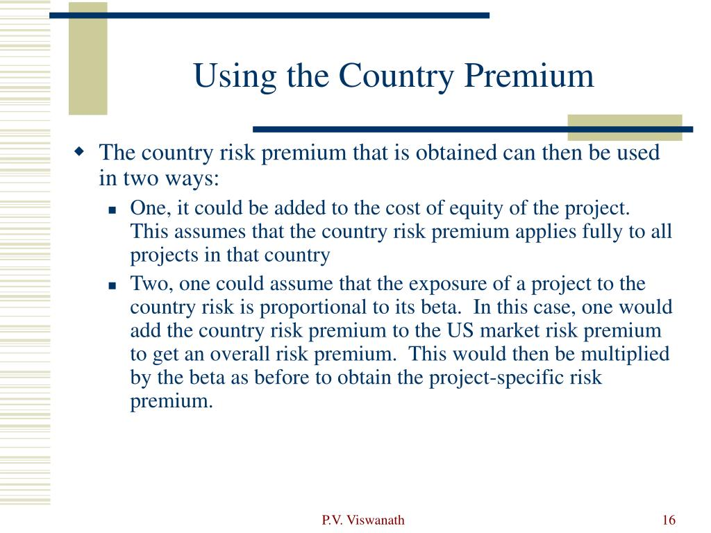 Using the Country Premium