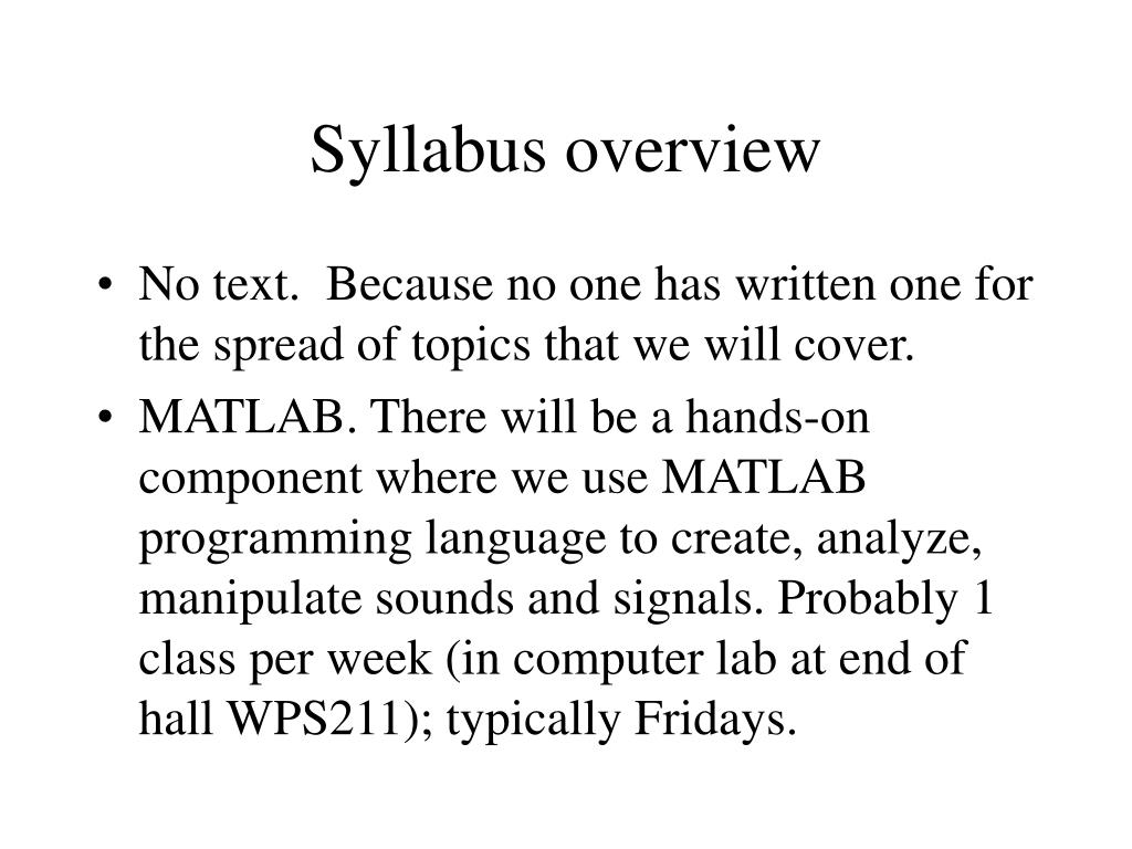syllabus overview l.