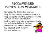 recommended prevention measures