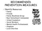 recommended prevention measures94