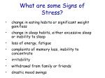 what are some signs of stress