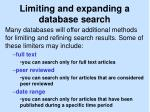 limiting and expanding a database search