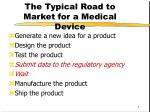 the typical road to market for a medical device