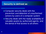 security is defined as