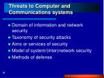 threats to computer and communications systems