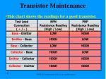 transistor maintenance chart