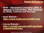 course references