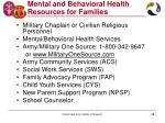 mental and behavioral health resources for families