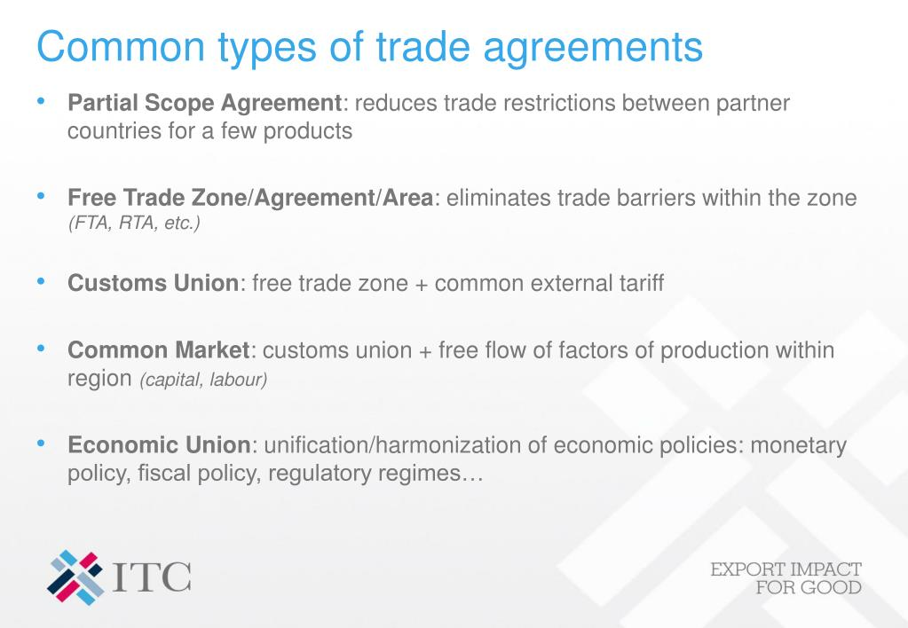 Common types of trade agreements