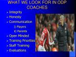 what we look for in odp coaches