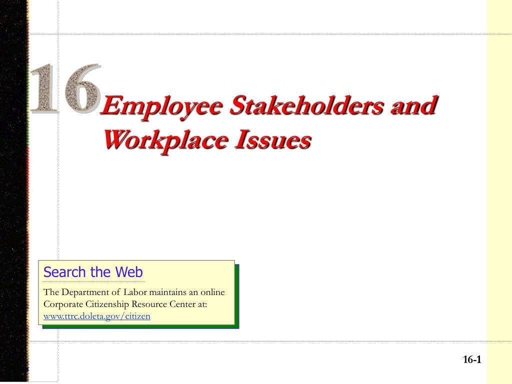 employee stakeholders and workplace issues l.