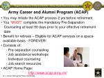 army career and alumni program acap