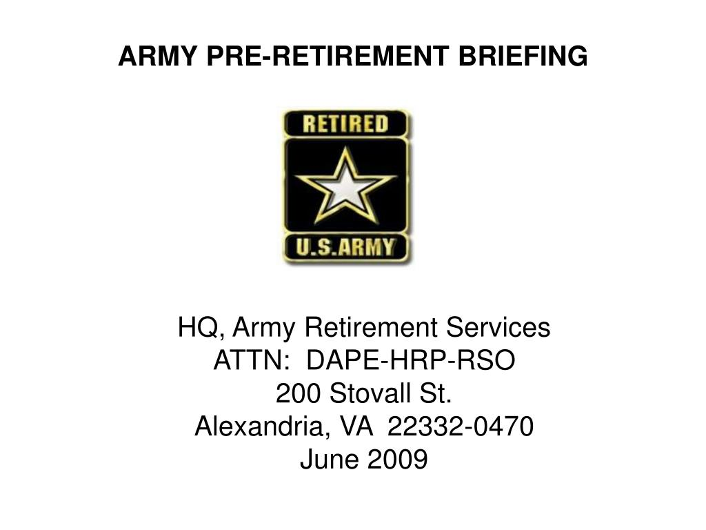 army pre retirement briefing l.