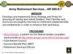 army retirement services ar 600 8 7