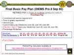 final basic pay plan diems pre 8 sep 80