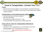 travel transportation contact your t o