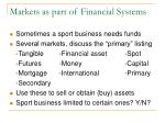 markets as part of financial systems