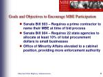 goals and objectives to encourage mbe participation