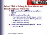 role of oeo in helping the state monitor and track compliance with goals