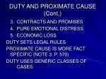 duty and proximate cause cont