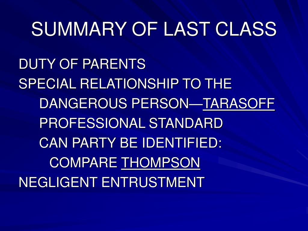 summary of last class l.