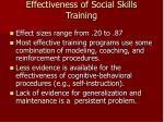 effectiveness of social skills training