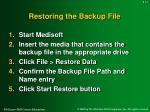 restoring the backup file