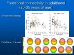 functional connectivity in adulthood 20 35 years of age