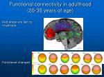 functional connectivity in adulthood 20 35 years of age24