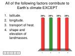 all of the following factors contribute to earth s climate except