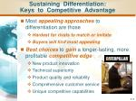 sustaining differentiation keys to competitive advantage