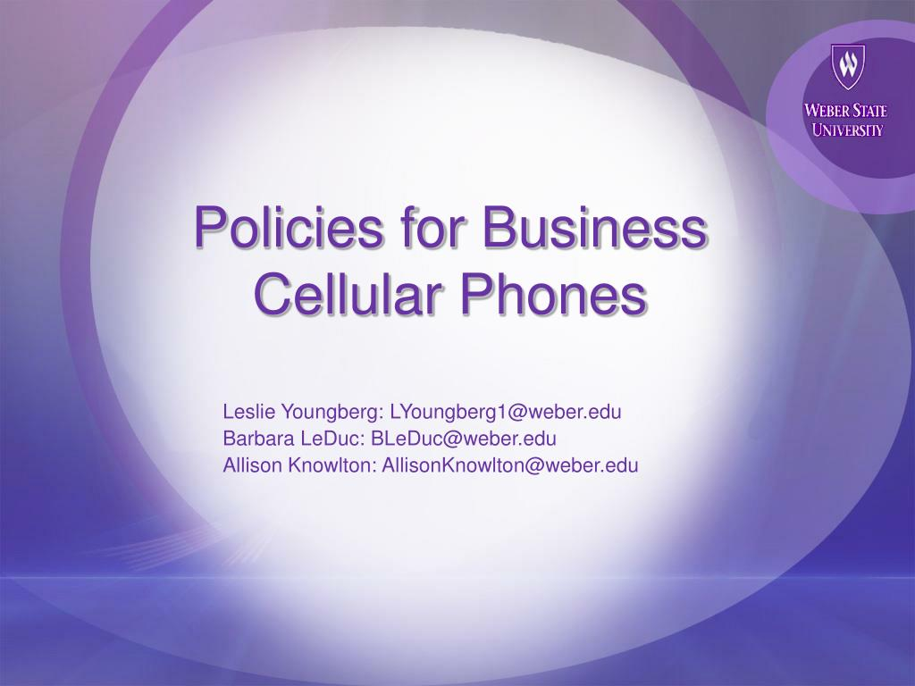 policies for business cellular phones l.