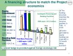 a financing structure to match the project economics