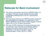 rationale for bank involvement