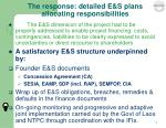 the response detailed e s plans allocating responsibilities