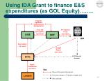 using ida grant to finance e s expenditures as gol equity