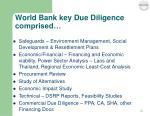 world bank key due diligence comprised