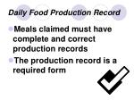 daily food production record12