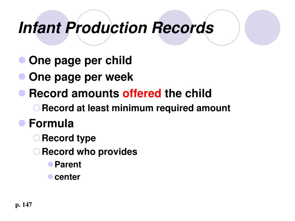Infant Production Records