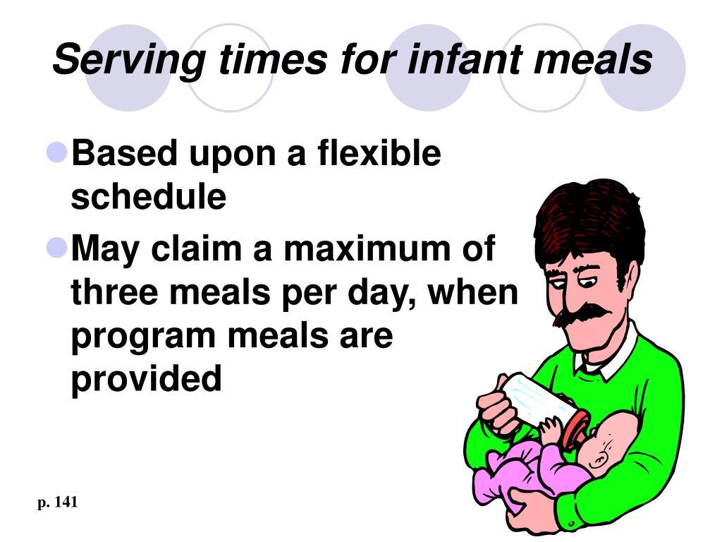 Serving times for infant meals