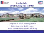 productivity what nursing has to offer