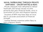 naval shipbuilding through private shipyards uncertainties risks13
