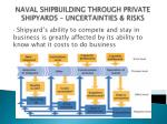 naval shipbuilding through private shipyards uncertainties risks14