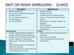 swot on indian shipbuilding glance