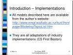 introduction implementations