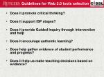 guidelines for web 2 0 tools selection