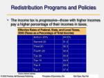 redistribution programs and policies