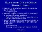 economics of climate change research needs