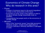 economics of climate change why do research in this area