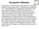 occupants behavior